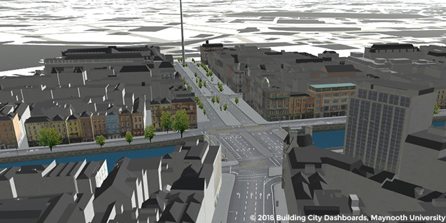 A prototype open source CIM being developed by the Building City Dashboards project, showing a 3D rendering of a junction and surrounding buildings.